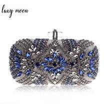 Women Clutch Party Luxury Blue Evening Bag Wedding Purse Crystal Chain Shoulder Bag High Quality Rhinestone Female Clutch