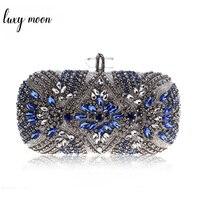 Women Evening Clutch Luxury Party Bag Crystal Chain Shoulder Bag High Quality Rhinestone Wedding Purse Female Blue Clutches