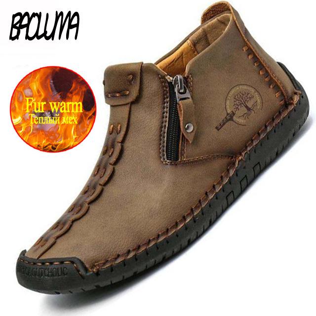 Winter Men's Boots Thick Plush Warm Men's Snow Boots Genuine Leather Zipper Men Ankle Boots Waterproof Men's Sneakers Plus size
