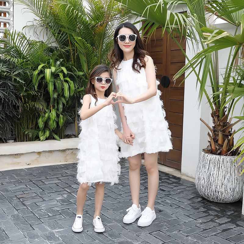 2019 PPXX White Fringe Lace Girl Dress Women Dress Wedding Party Mother Daughter Dresses Family Matching Clothes Family Look