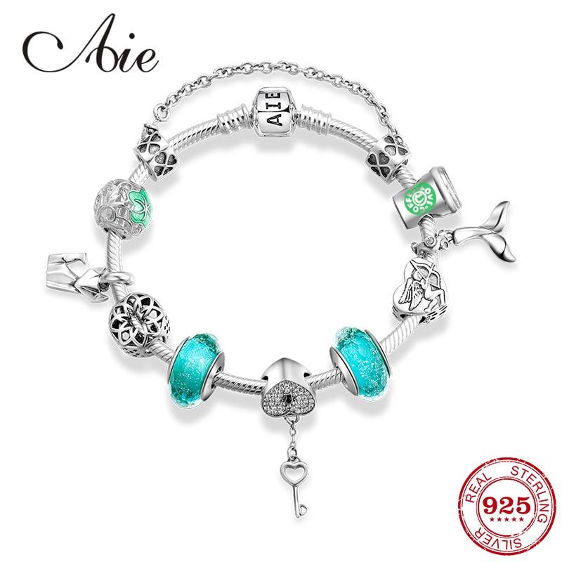 Design Original 925 en argent Sterling vert perles de verre breloque fini amour bracelets pour femme bijoux