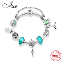 Original design 925 Sterling Silver green Glass beads Charm Finished Love Bracelets for women Jewelry