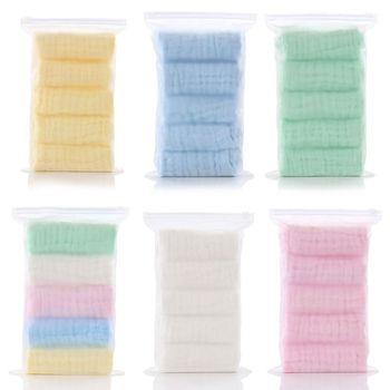5pcs/lot Baby Handkerchief Square Face Towel 30x30cm Muslin Cotton Infant Wipe Cloth - discount item  48% OFF Baby Care