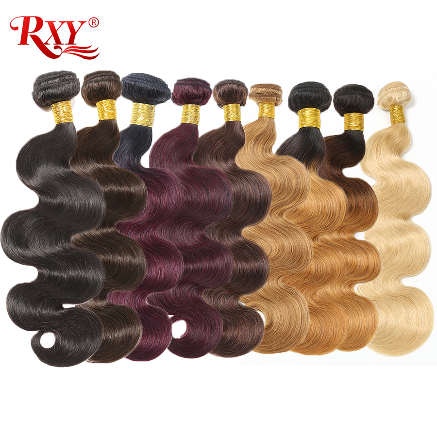Body Wave Bundles RXY Brazilian Hair Sale Remy Human Hair Weave Bundles #1B/#2/#4/#27/#99J/#613 Bundles Ombre Hair Bundles