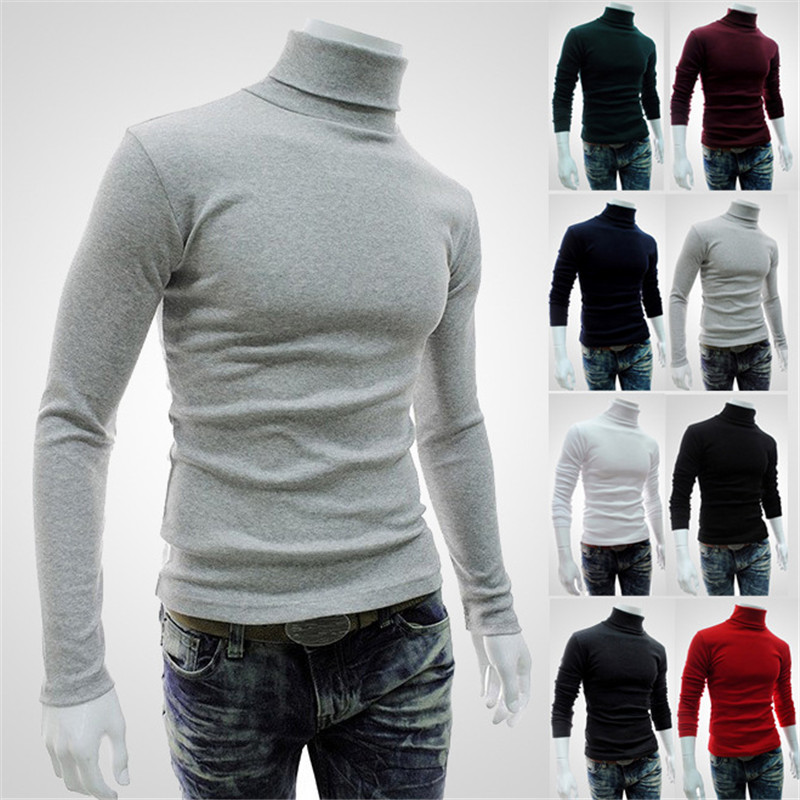 Winter High Neck Thick Warm Sweater Men Turtleneck Brand Mens Sweaters Slim Fit Pullover Men Knitwear Male Double collar image