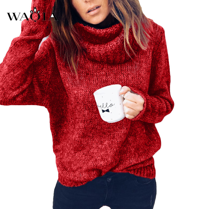 3XL Casual Sweater Women 2019 Autumn Winter LooseTurtleneck Knitted Sweater Pullovers Female Long Sleeve Jumper Top Pull Femme