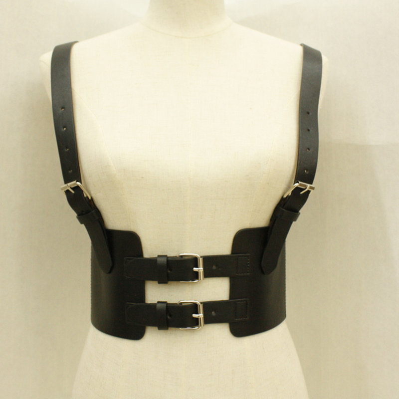 Fashion Leather Steampunk Sexy Underbust Waist Belt 2020 New Corset Vest Harness Strechy Waistcoat For Women Synthetic Leather