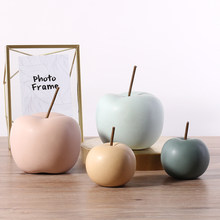Nordic Fruit Ornaments Home Decoration Figurines Ceramics Apple Miniature Model TV Cabinet Desk Deocr Accessories Wedding Gifts(China)