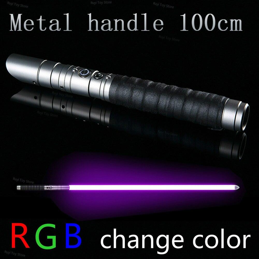 100 см RGB светильник саблей джедай ситх люк светильник saber Force FX Тяжелая дуэльная перезаряжаемая цветная FOC Блокировка металлической ручкой ме...