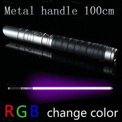 100CM RGB sable láser Jedi Sith Luke sable de luz de la fuerza FX pesado duelo recargable Color FOC cerrar mango de Metal espada guerras