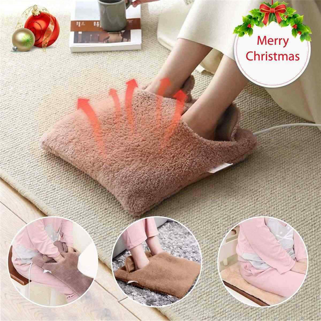 Electric Heated Foot Pad Warm Cosy Foot&Hand Warmer Heating Slippers Sofa Pillow Unisex Velvet Feet Heated Foot Warmer Massager