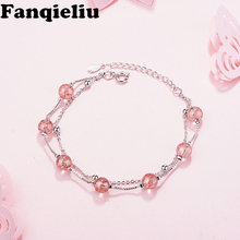 Fanqieliu Pink Crystal Beads Charms Charming Bracelets & Bangles For Women 925 Sterling Silver Chain Bracelet Female FQL20019 fanqieliu crystal wedding jewelry 925 sterling silver chain bracelets