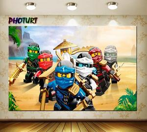 Image 2 - Photurt おもちゃ ninjago 写真撮影の背景ベビーシャワーボーイ誕生日パーティー背景アニメーション characte ビニール写真スタジオ小道具