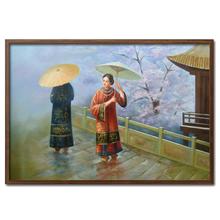 Цветущая вишня под дождем ручная роспись декоративная картина