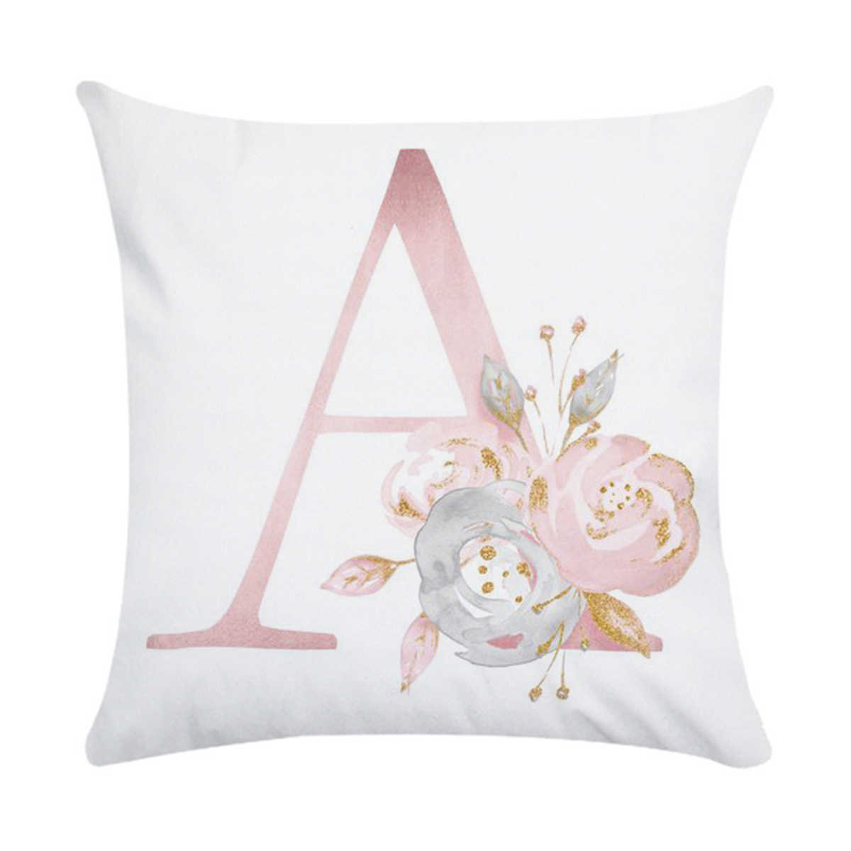 Puseky 45x45cm Alphabet Floral Print Throw Pillow Case Waist Pillow Cover Wedding Bed Home Letter Polyester Pillow Cover