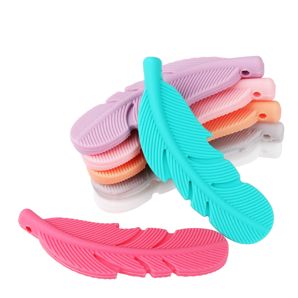 20Pcs Baby Silicone Feather Pendant Beads Silicone Loose Beads DIY Baby Bracelet Necklace Accessories Beads Teether