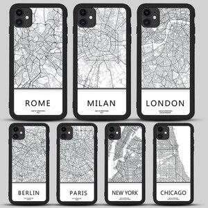 Чехол для телефона с изображением карты города Лондона для iphone 11 Pro max X Xs Max Xr 8 7 6 6s 7 Plus SE 2020 Мягкая Черная задняя крышка