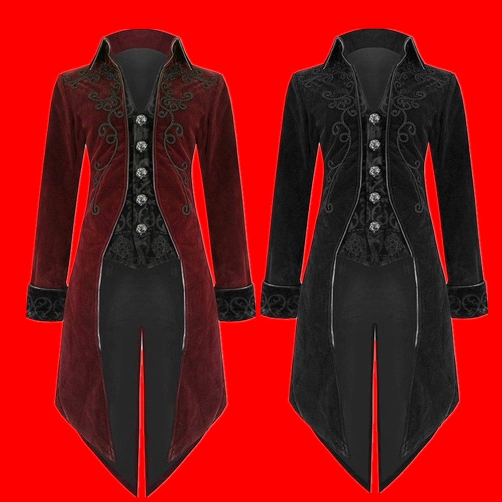 Plus Size S-5XL Autumn and Winter Men`s Fashion Clothing Fashion Gothic Steampunk Windbreaker Dress Coat (8)