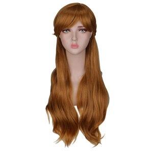 Image 1 - QQXCAIW kadınlar uzun kahverengi prenses örgü Cosplay peruk Anna parti kostüm kız yüksek sıcaklık Fiber sentetik saç peruk