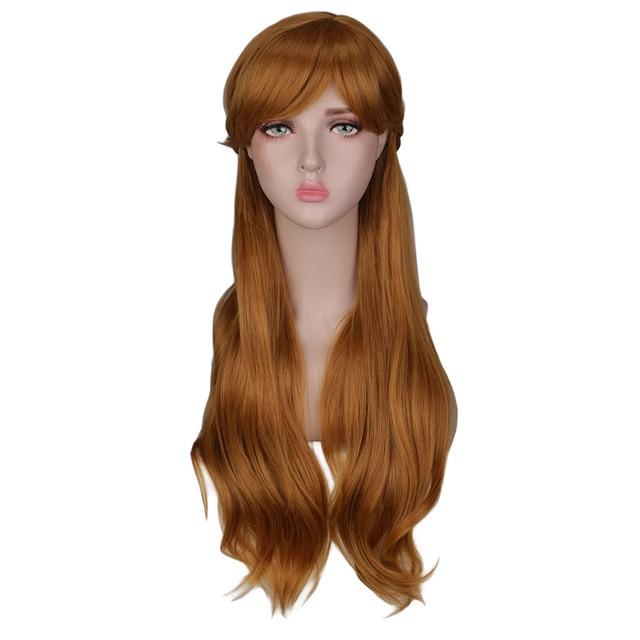 QQXCAIW kadınlar uzun kahverengi prenses örgü Cosplay peruk Anna parti kostüm kız yüksek sıcaklık Fiber sentetik saç peruk