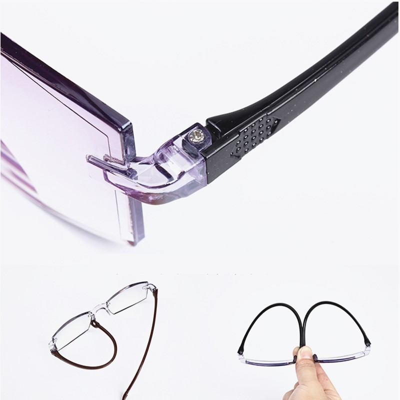 H47d3d51267ab4c21aa6687e2c12a962eI - Men Women Rimless Reading Glasses Bifocal Far Near Anti Blue Light Magnification Eyewear Presbyopic Glasses Diopter +150 +200