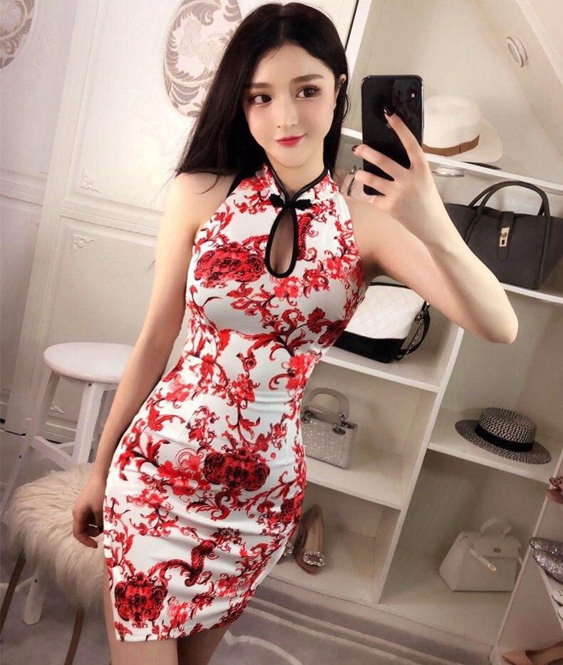Summer New Style Cheongsam Women's Nightclub-Dress Sleeveless Slit Printed Sheath-Stand Collar