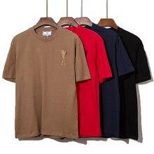 2021 ver?o de alta qualidade algod?o de manga curta camiseta moda masculina e feminina casual solto oversize camiseta ami