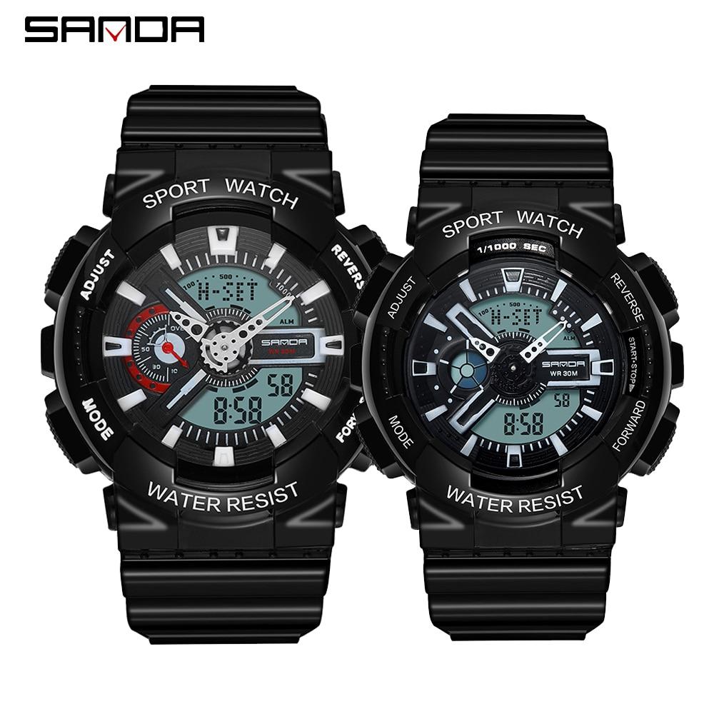 SANDA Military Men's Ms Watches Top Brand Couple Waterproof Sport Watch Men S Shock Quartz Lover Watches Clock Relogio Masculino