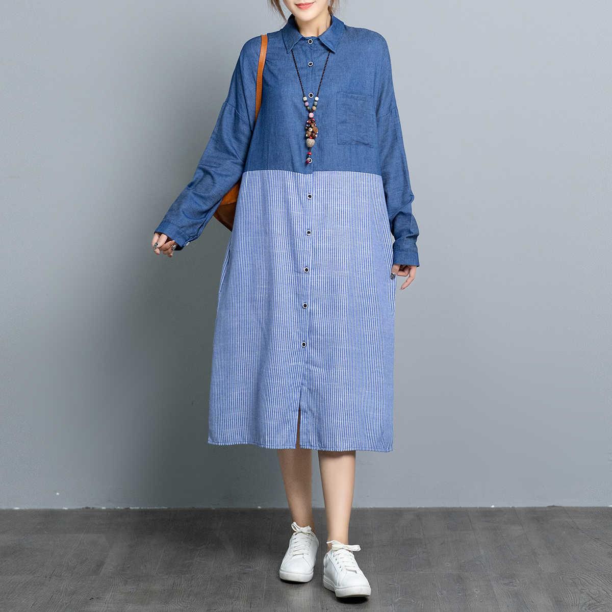 SuperAen/2019 осеннее Новое джинсовое Полосатое женское платье с длинным рукавом, модное повседневное женское платье в Корейском стиле, женская одежда