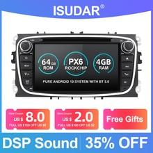 Iسودار PX6 2 الدين أندرويد 10 راديو السيارة لفورد/التركيز/S MAX/مونديو/C MAX/غالاكسي سيارة مشغل الوسائط المتعددة فيديو غس أوسب دفر كاميرا فم