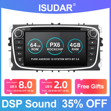 Isudar PX6 2 Din Android 10 Car Radio For FORD/Focus/S MAX/Mondeo/C MAX/Galaxy Car Multimedia Player Video GPS USB DVR Camera FM