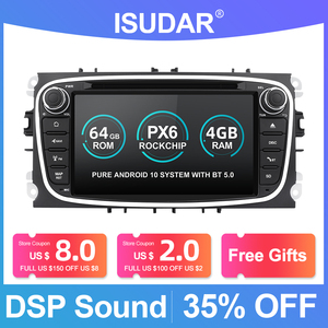 Image 1 - Isudar PX6 2 Din Android 10 Car Radio For FORD/Focus/S MAX/Mondeo/C MAX/Galaxy Car Multimedia Player Video GPS USB DVR Camera FM