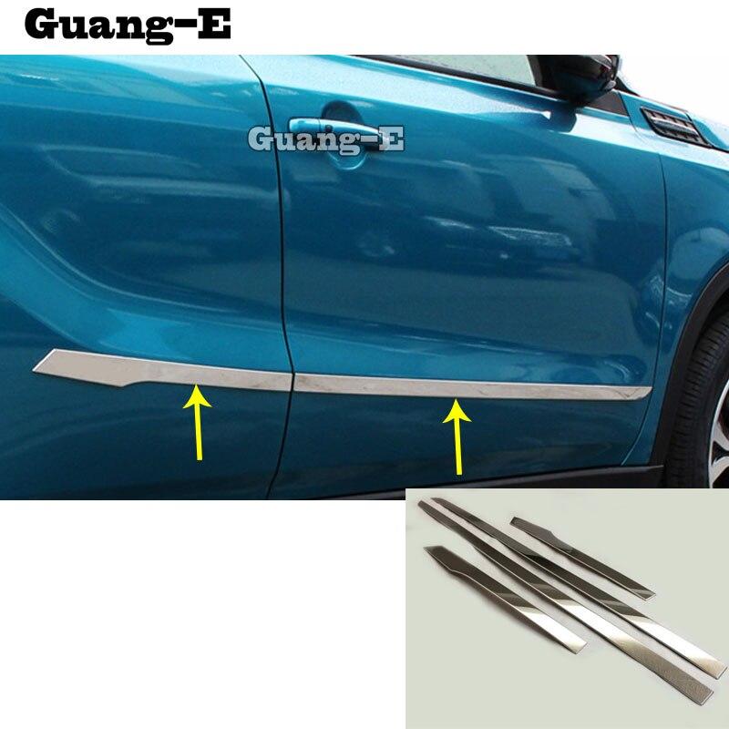 For SUZUKI Vitara 2016 2017 2018 2019 car styling cover detector stainless steel Side Door Body trim sticks Strips Molding 4pcs|for suzuki|body trim|siding door - title=