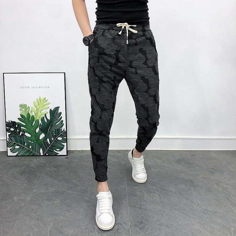 Jacquard Casual Joggers Men Trousers Black Fashion Korean Slim Fit Men Harem Pants All Match High Quality 2020 Spring Men Pants