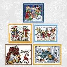 Набор для вышивки крестиком 11ct 14ct серия рождественских снеговиков