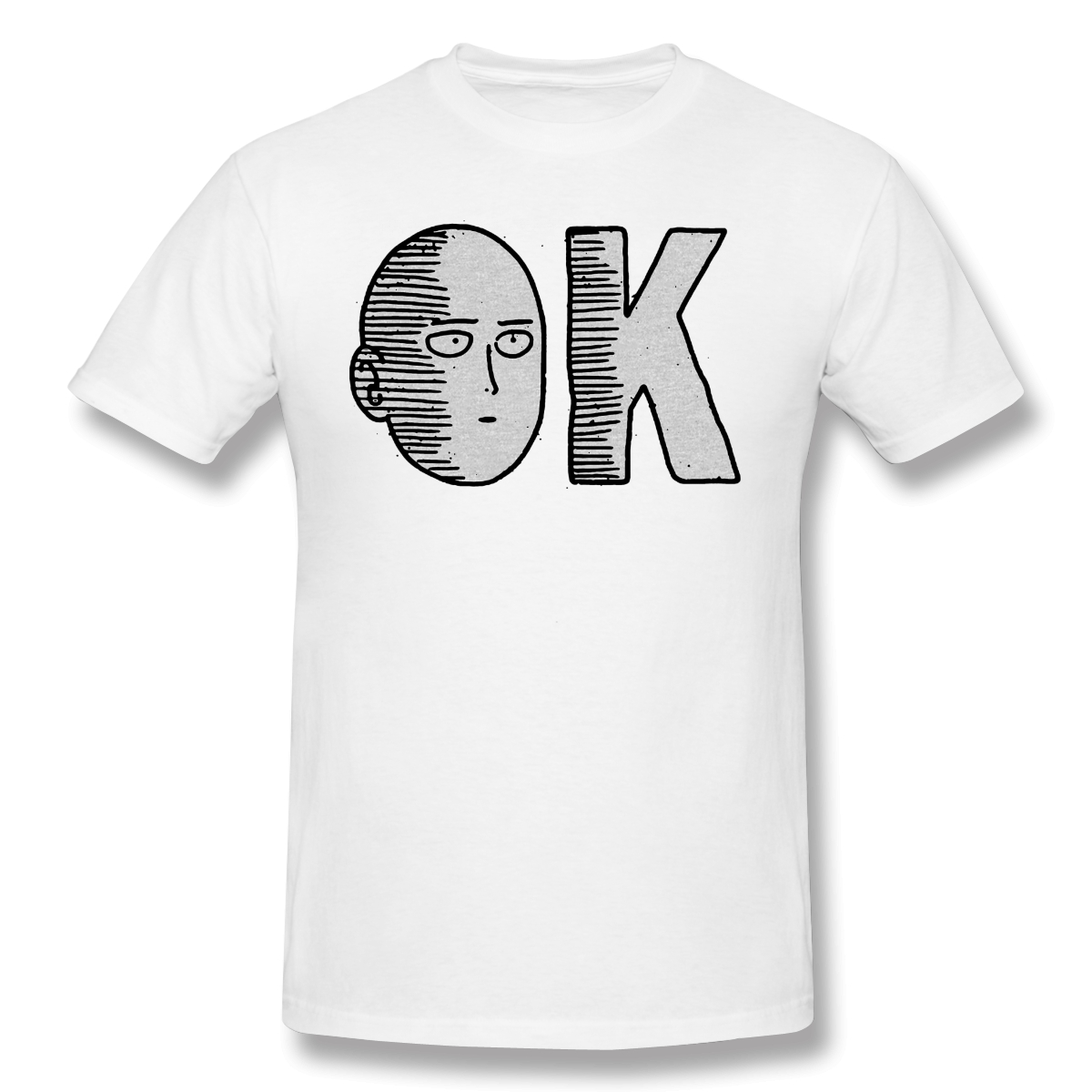 ONE PUNCH MAN Adventure Cartoons T-Shirts For Men OnePunchMan OK Tank Funny Crewneck Cotton Graphic T Shirt Tees Printed