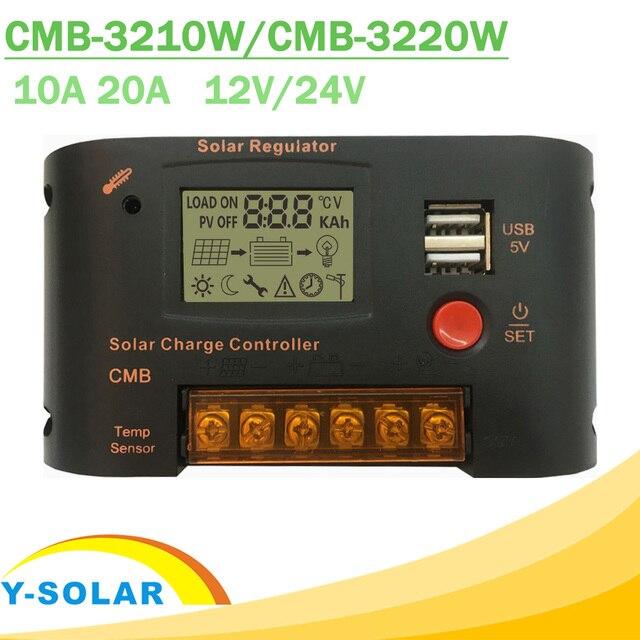 10A 20A PWM регулятором солнечного Зарядное устройство Управление; 12v/24v Авто ЖК дисплей Дисплей Dual USB 5V 2A Выход солнечный регулятор с светильник и время Управление