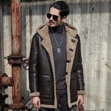 Chaqueta de piel de oveja para hombre, abrigo de piel auténtica, abrigos ecológicos originales para hombre, parka retro a prueba de frío