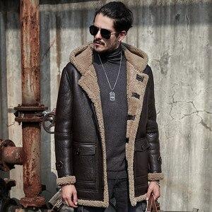 Image 1 - Kurtka z owczej skóry mężczyźni futro płaszcz z prawdziwej skórzane kurtki odzież wierzchnia oryginalne ekologiczne shearling płaszcze męskie retro parka odporny na zimno