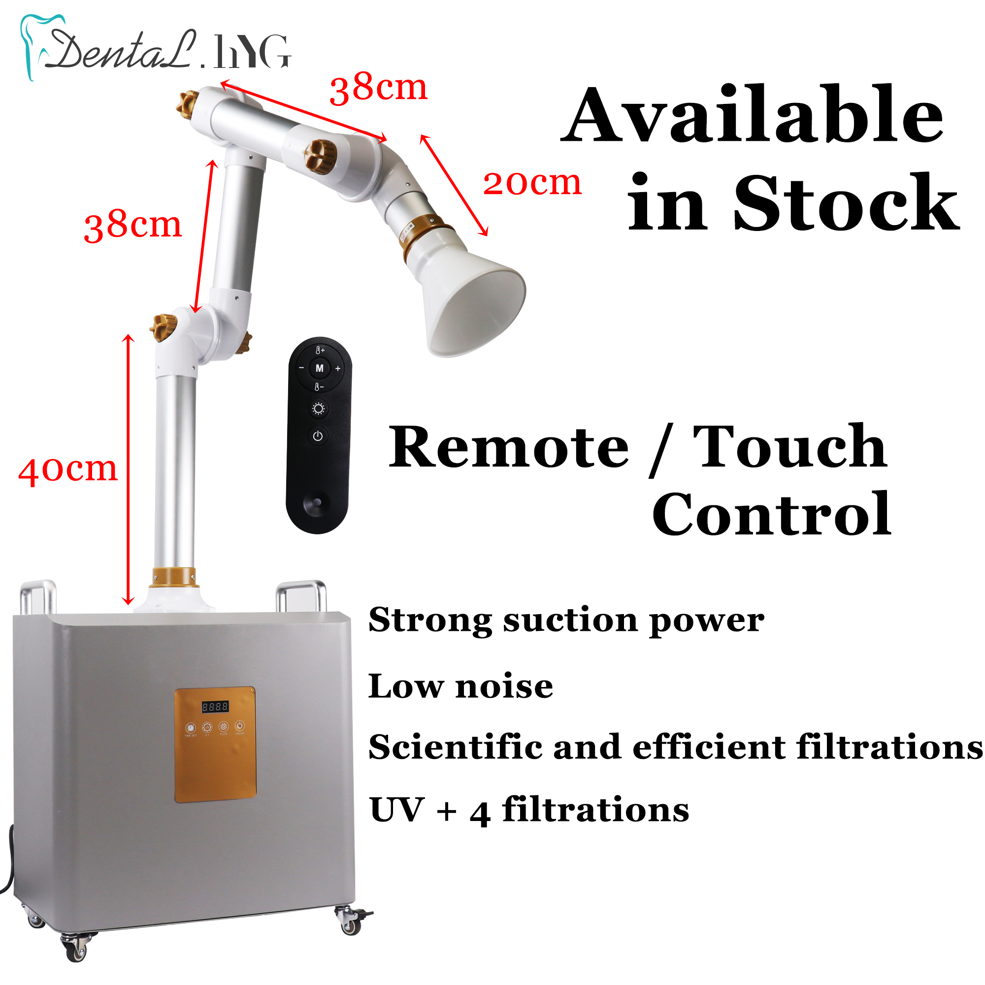 Dental Aerosol Suction Machine External Oral  Suction Unit Portable Suction Unit Machine UV Light + 4 Filters