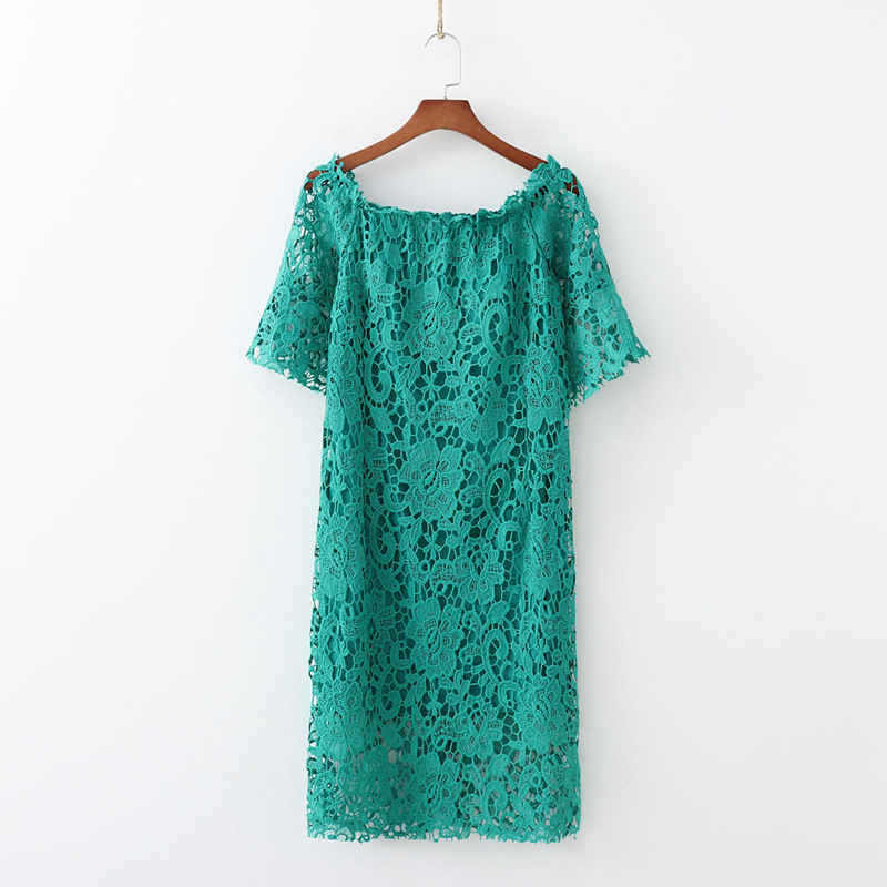 2019 Spring Europe And America WOMEN'S Dress New Style Exposed Shoulder Water Soluble Lace Short Sleeve Dress 2074