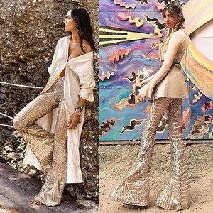 Image 5 - סקסי שחור Sequines רחב רגל ארוך מכנסיים נשים חדש גבוהה מותן מסיבת מועדון חג המולד מכנסיים מכנסיים תלבושת Streetwear התלקח מכנסיים