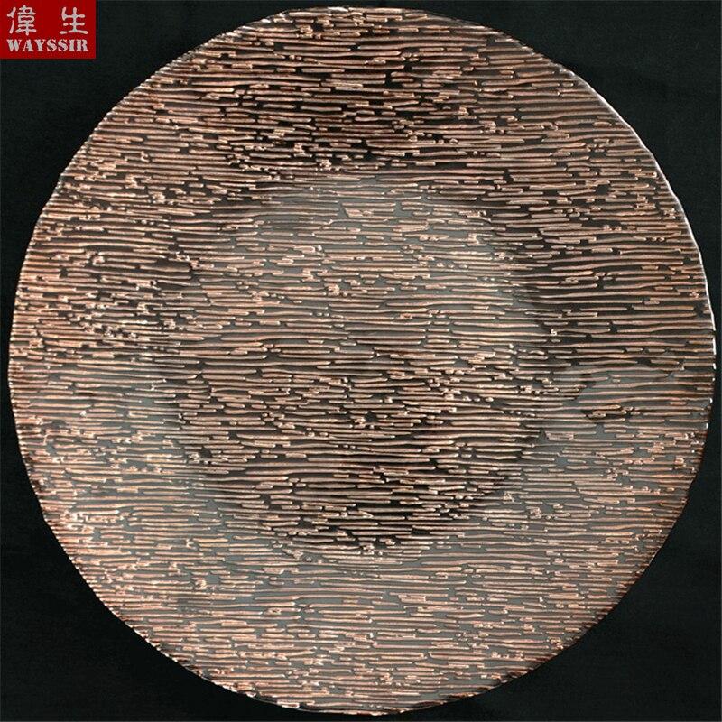 Купить круглый стеклянный поднос в полоску диаметром 33 см