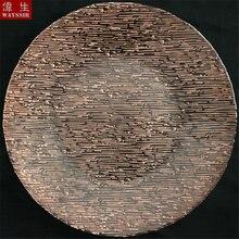 Круглый стеклянный поднос в полоску диаметром 33 см