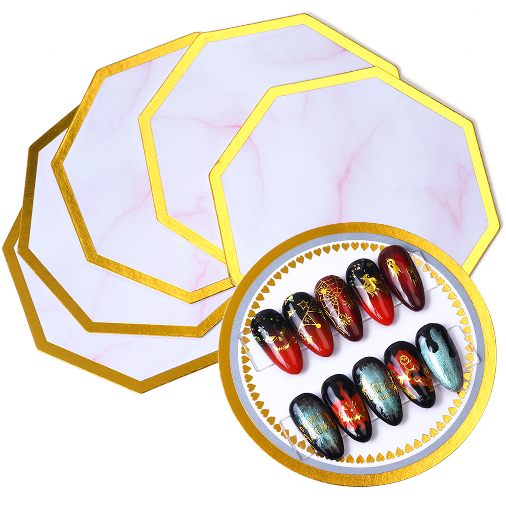 5pcs Acrylic Nail Art Color Palette UV Gel Polish Practice Display Holder Tips Painting Dish Plate Nail Art Showing Tools TR1041