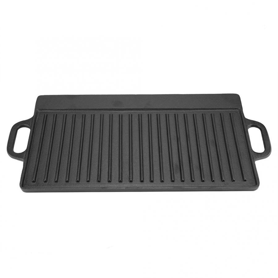 Non-Stick Cast Iron Grill Griddle Pan Ridged And Flat Double-Sided Baking Cooking Tray Bakeware