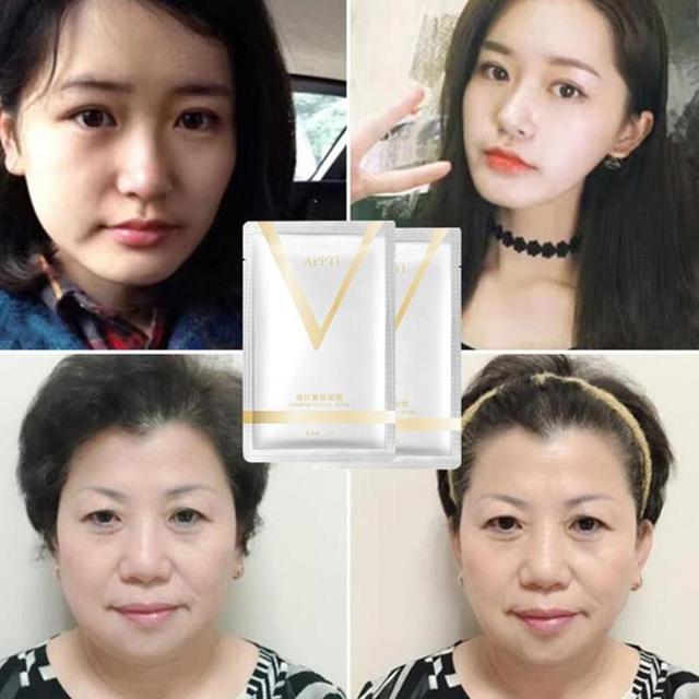 1PC V Face Lifting Facial Wrapped Masks V-Shaped Slimming Thin Face Mask V Bandage Mask Skin Treatment Double Lift Peel-off Chin 5