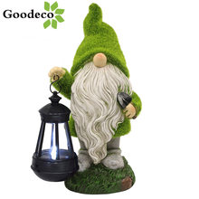 Goodeco Flocking Gnome Solar Garden Statues Outdoor Decor Flocked Gnome With Solar Lantern Figurine Dwarfs Jardim Yard Ornaments
