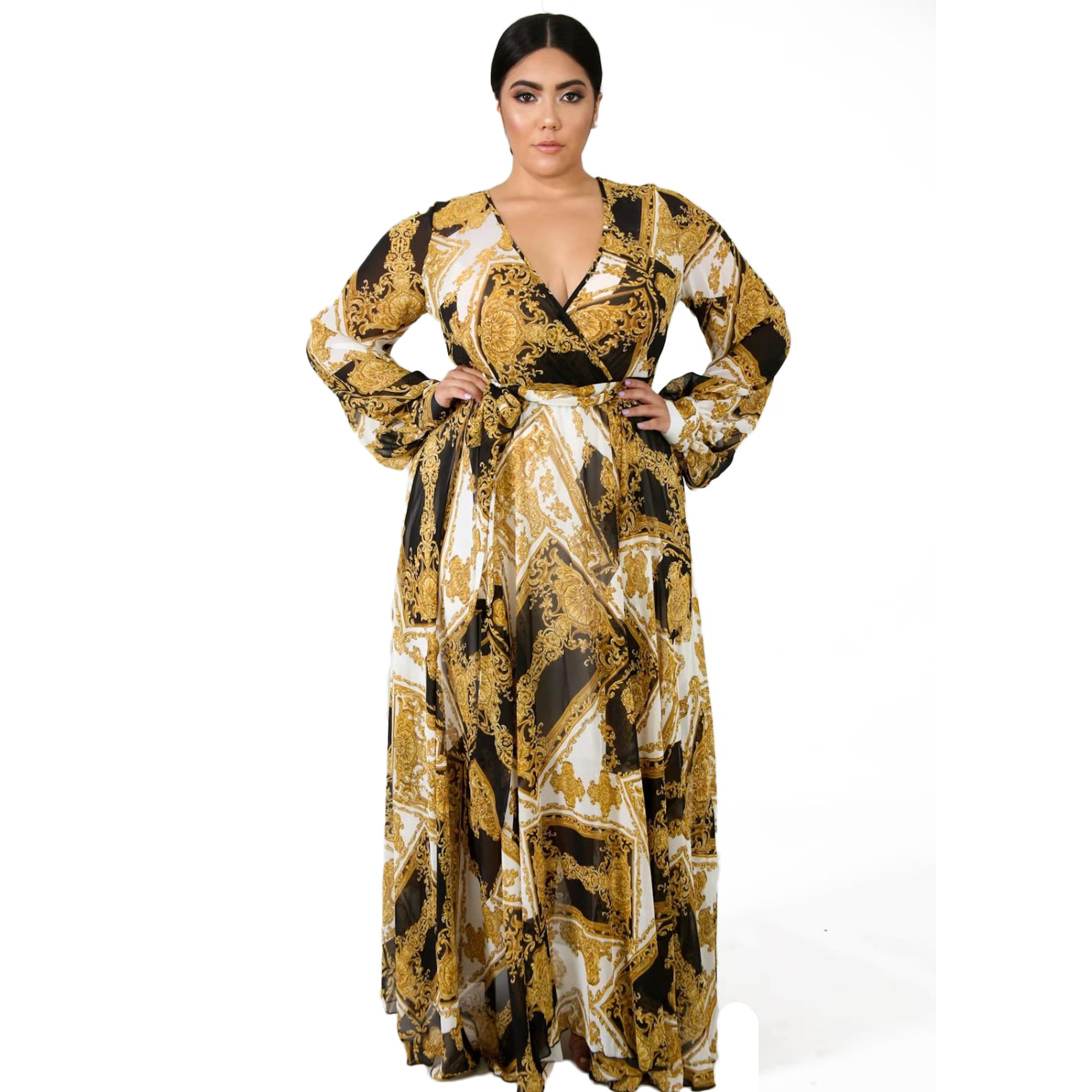 A New Print Printed Autumn/winter Dress For Women's Wear In Europe And America Has Become A Hot Seller For V-neck Dresses