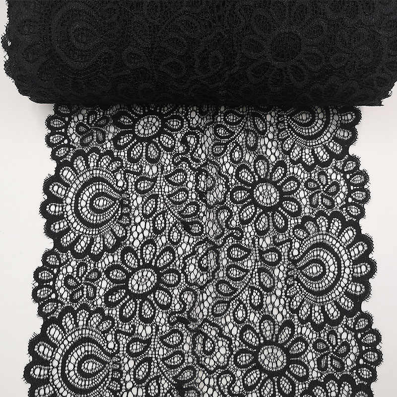22 センチメートル黒、白弾性レース生地フレンチ中空下着 DIY 工芸品縫製 Suppies 装飾アクセサリー衣料用 1 ヤード
